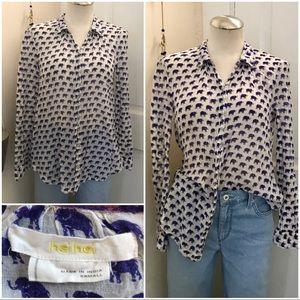 Paper thin button up indigo printed shirt